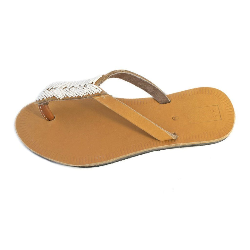 Swahili Coast Design Compass Sandals in White Featured Swahili Coast Design