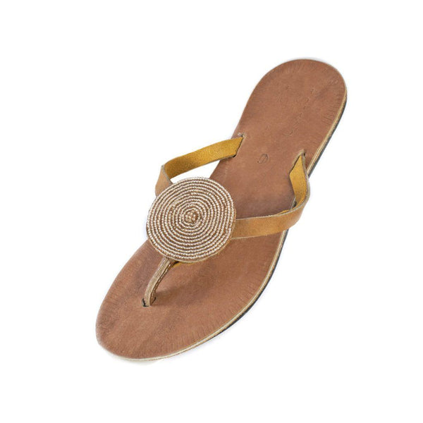 Swahili Coast Design Iris Sandals in Champagne Featured Swahili Coast Design