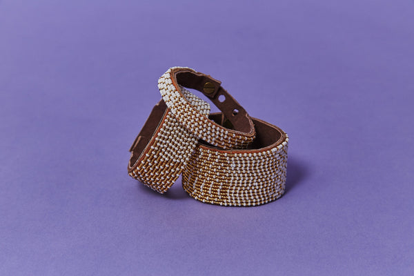 Swahili Coast Design Ombre Gold Beaded Leather Cuff Beaded Leather Cuff Swahili Coast Design