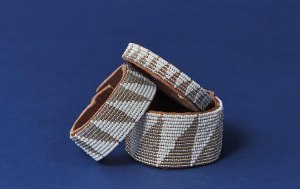 Swahili Coast Design Tri Silver Beaded Leather Cuff Beaded Leather Cuff Swahili Coast Design