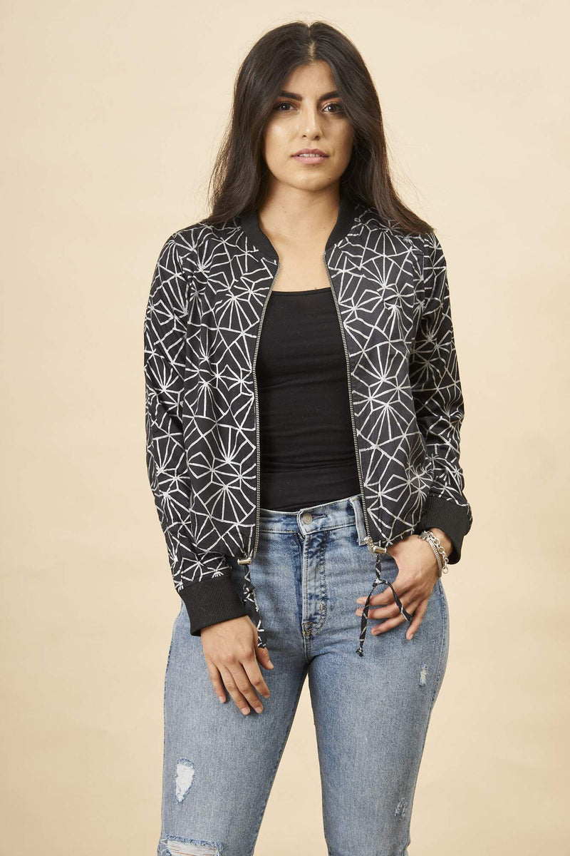 Symbology Art Deco Bomber Jacket Black + Silver Jackets Symbology