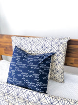 Symbology Art Deco/Stylized Feather Reversible Pillowcase in Navy + Cream Home Decor Symbology-13301399322687
