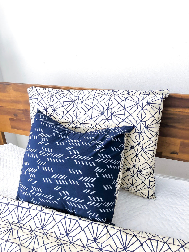Symbology Art Deco/Stylized Feather Reversible Pillowcase in Navy + Cream Home Decor Symbology