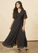 Symbology Baby Cacti Butterfly Sleeve Maxi Dress in Black + Cream Dresses Symbology-11803415412799