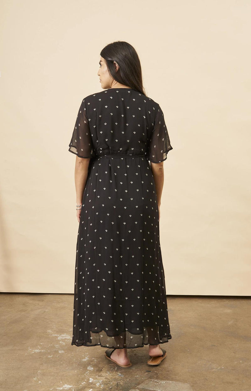 Symbology Baby Cacti Butterfly Sleeve Maxi Dress in Black + Cream Dresses Symbology