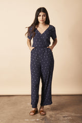 Symbology Baby Cacti Cropped Jumpsuit in Navy + Cream Jumpsuits Symbology-5366324101183