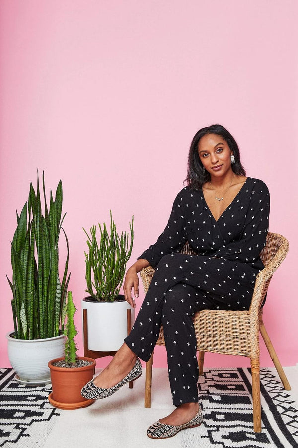 Symbology Baby Cacti Wrap Jumpsuit in Black & Ivory Jumpsuits Symbology