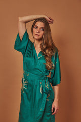 Symbology Cherry Blossom Maxi Wrap Dress in Emerald + Gold Dresses Symbology-11681664139327