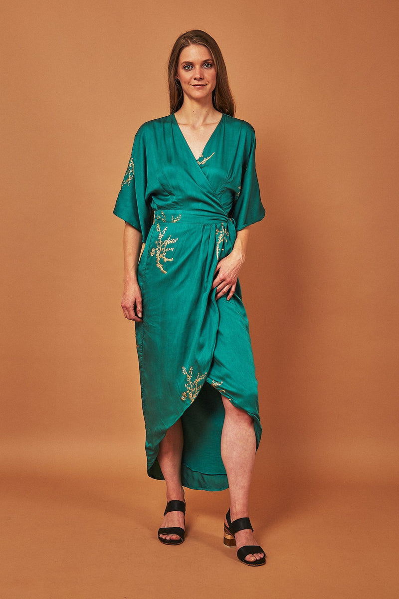 Symbology Cherry Blossom Maxi Wrap Dress in Emerald + Gold Dresses Symbology
