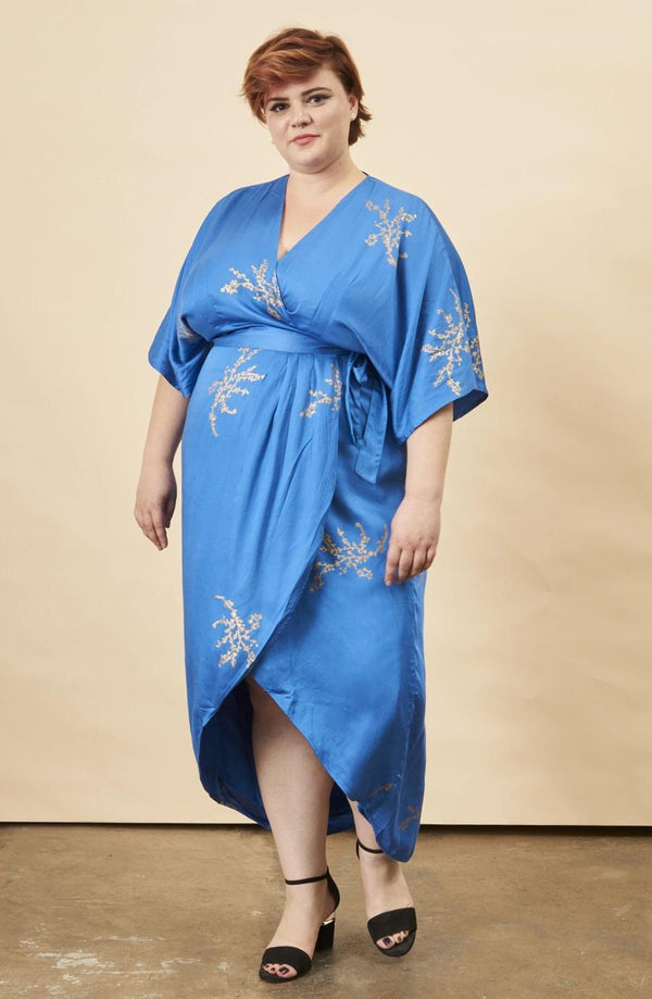Symbology Cherry Blossom Maxi Wrap Dress Sapphire + Gold Dresses Symbology