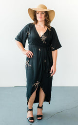 Symbology Cherry Blossom Maxi Wrap in Black + Gold Dresses Symbology-5537753038911