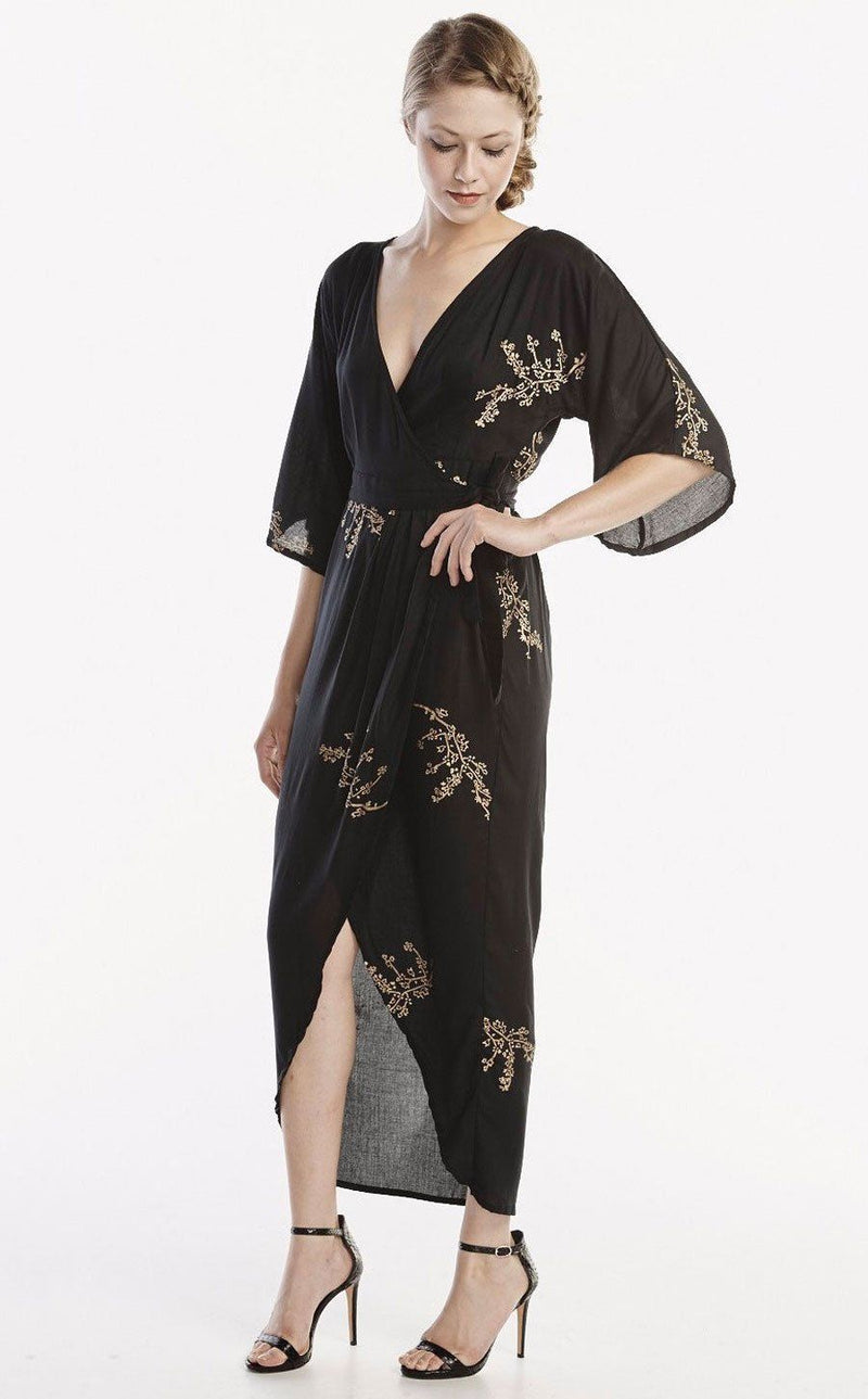 Symbology Cherry Blossom Maxi Wrap in Black + Gold Dresses Symbology