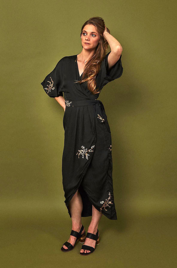 Symbology Cherry Blossom Modal Maxi Wrap in Black + Gold Clothing Symbology