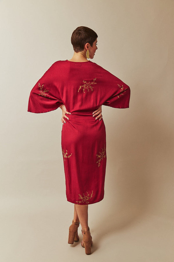 Symbology Cherry Blossom Twisted Midi Dress in Raspberry + Gold Dresses Symbology