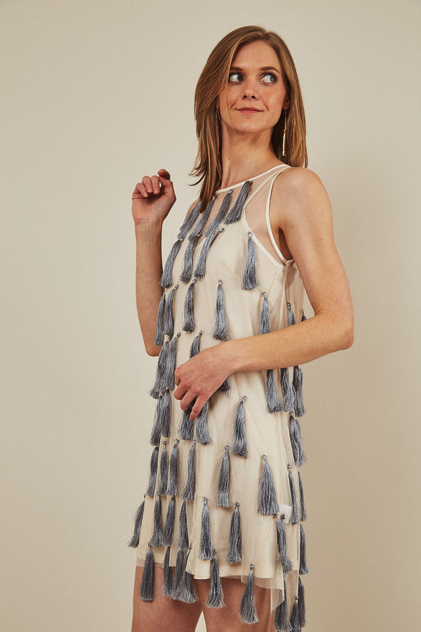 Symbology Flapper Chic Tassel Dress in Cream + Grey Dresses Symbology