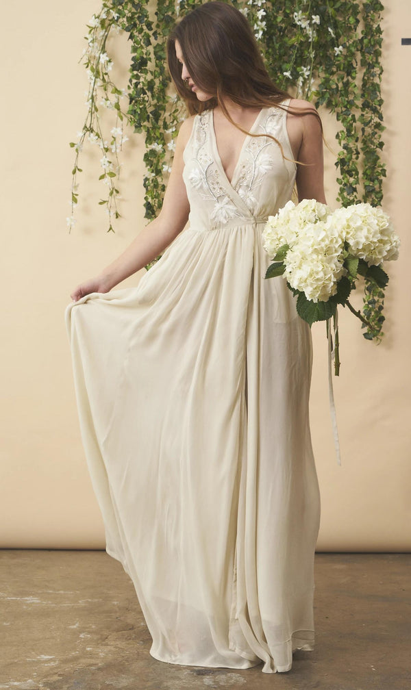 Symbology Floral Embroidered Wedding Dress in Cream + Silver Wedding Dress Symbology