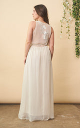 Symbology Floral Embroidered Wedding Dress in Cream + Silver Wedding Dress Symbology-11878361694271