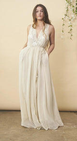 Symbology Floral Embroidered Wedding Dress in Cream + Silver Wedding Dress Symbology-11878406946879