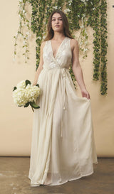 Symbology Floral Embroidered Wedding Dress in Cream + Silver Wedding Dress Symbology-11878307168319