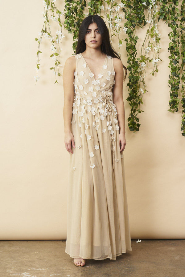 Symbology Floral Ombre Maxi Gown in Champagne and Cream Wedding Dress Symbology