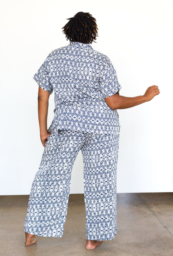 Symbology Geo Starburst PJ Set in Navy + Cream PJs Symbology