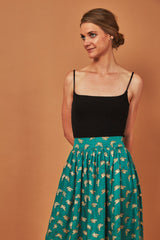 Symbology Gingko Leaf Midi Skirt Green & Gold Bottoms Symbology-11899518058559