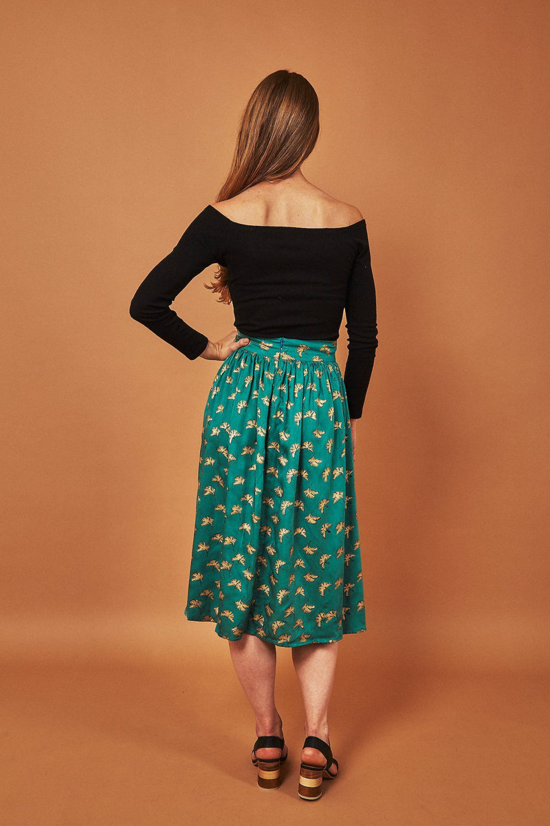 Symbology Gingko Leaf Midi Skirt Green & Gold Bottoms Symbology