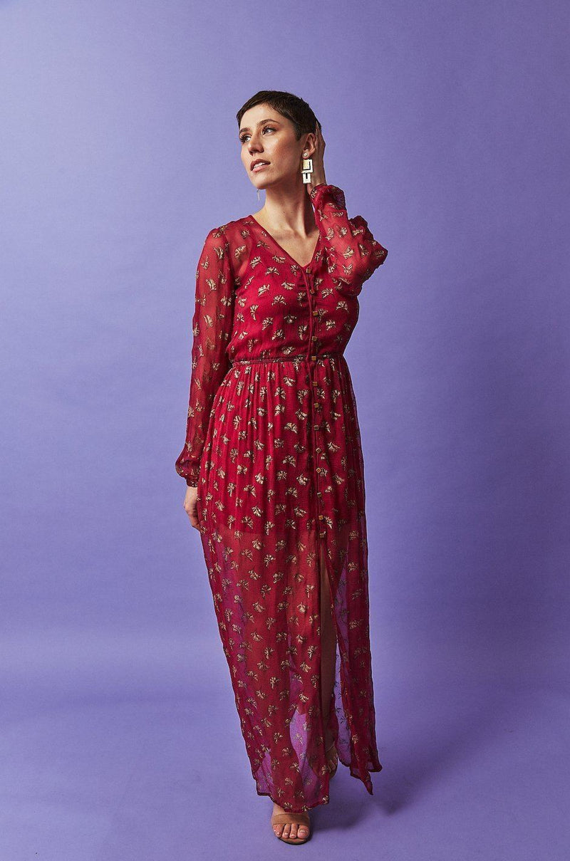 Symbology Ginkgo Leaf Maxi Button Down Dress in Magenta + Gold dresses Symbology