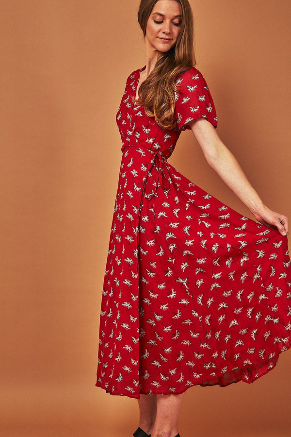 Symbology Ginkgo Leaf Midi Wrap Dress Red + Silver Dresses Symbology