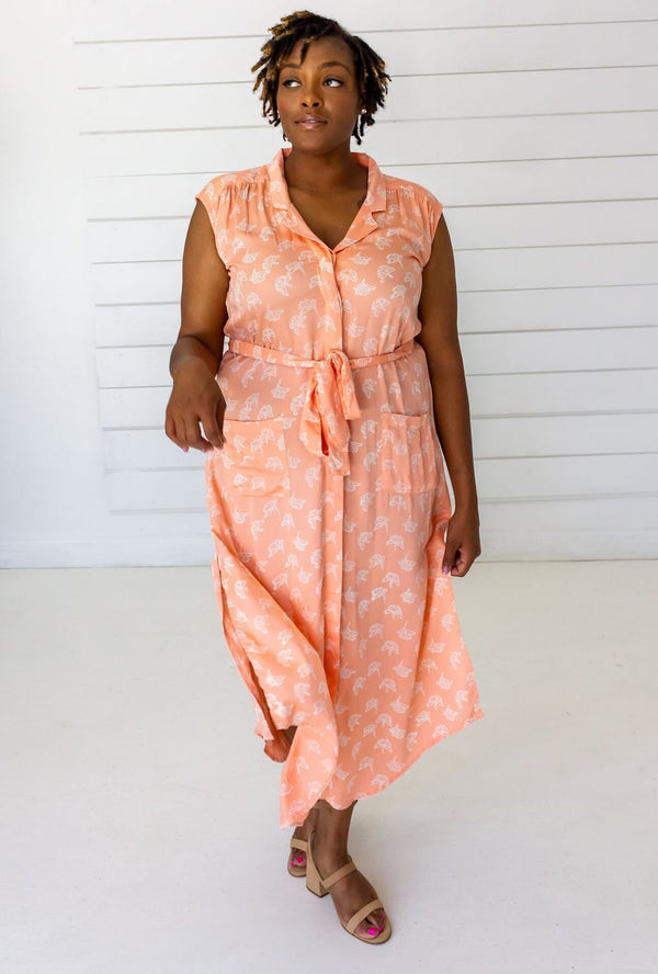 Symbology Ginkgo Leaf Modal Shirtdress - Peach + Cream Dresses Symbology