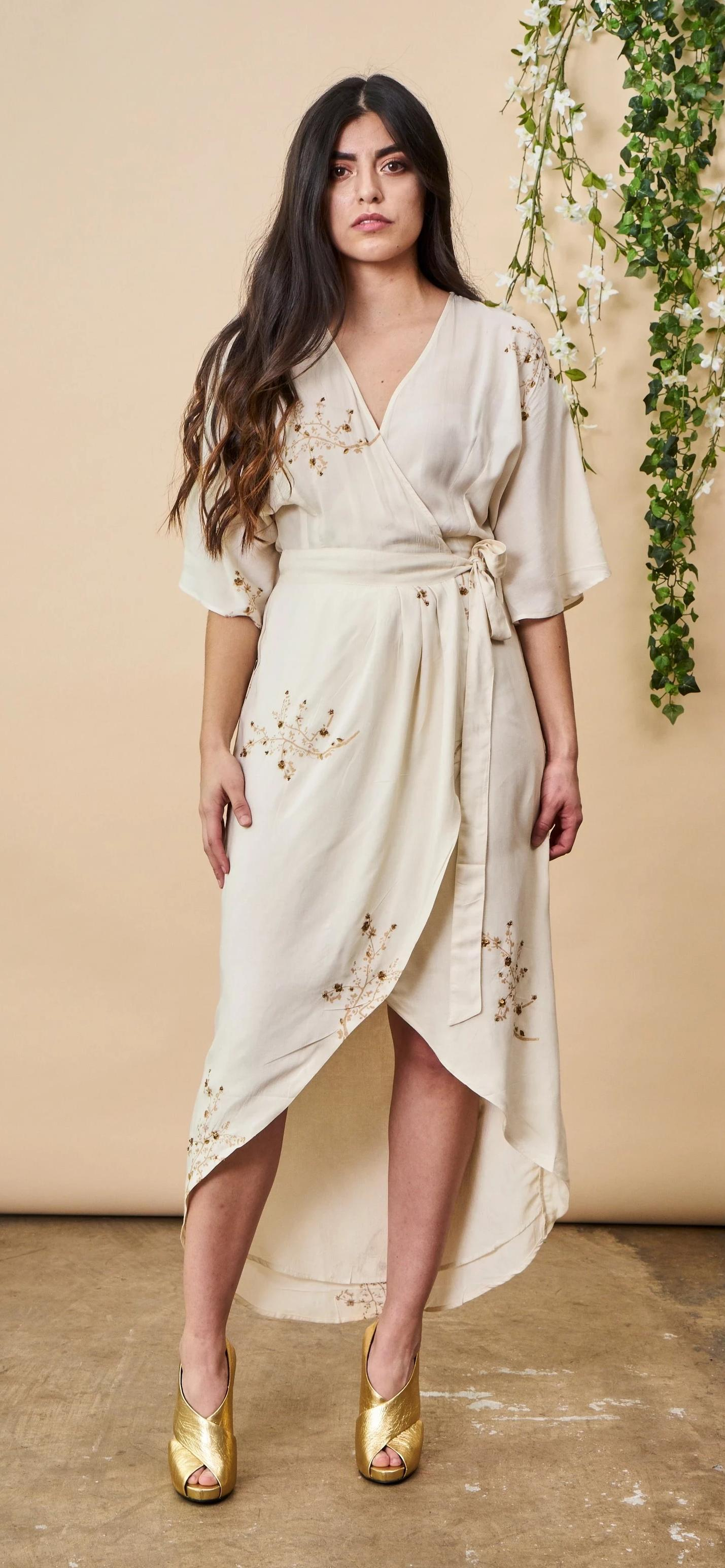 Symbology Hand Beaded Cherry Blossom Maxi Wrap in Ivory + Antique Gold Wedding Dress Symbology