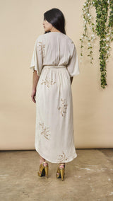 Symbology Hand Beaded Cherry Blossom Maxi Wrap in Ivory + Antique Gold Wedding Dress Symbology-11878398197823