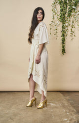 Symbology Hand Beaded Cherry Blossom Maxi Wrap in Ivory + Antique Gold Wedding Dress Symbology-11878404948031