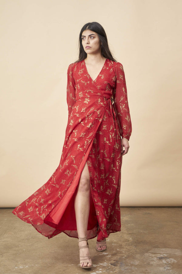Symbology Hibiscus Empress Wrap Dress Red Lipstick + Gold Dresses Symbology