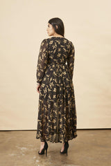 Symbology Hibiscus Flower Empress Maxi in Black + Gold Symbology-11803322089535