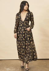 Symbology Hibiscus Flower Empress Maxi in Black + Gold Symbology-11803538686015