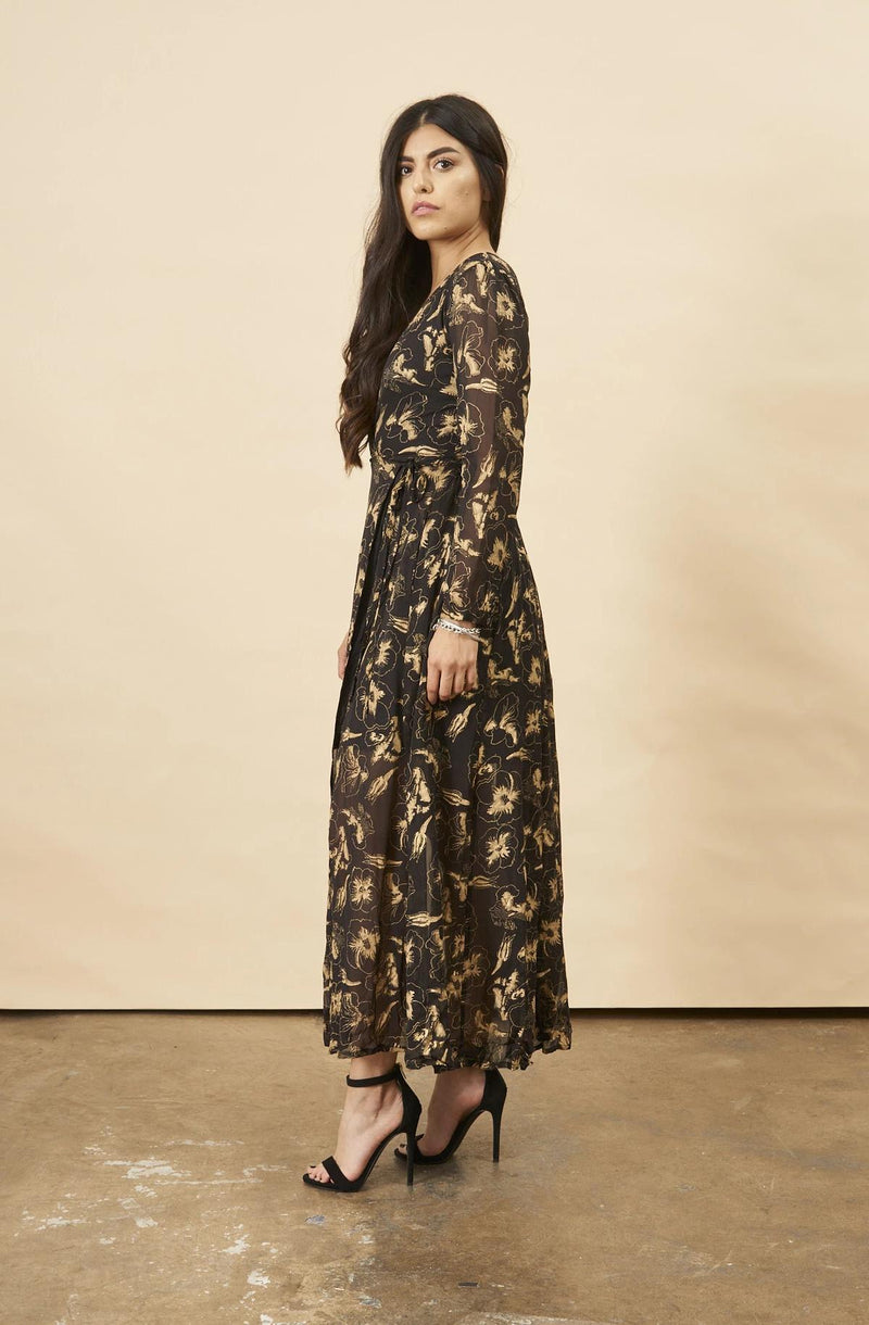 Symbology Hibiscus Flower Empress Maxi in Black + Gold Symbology
