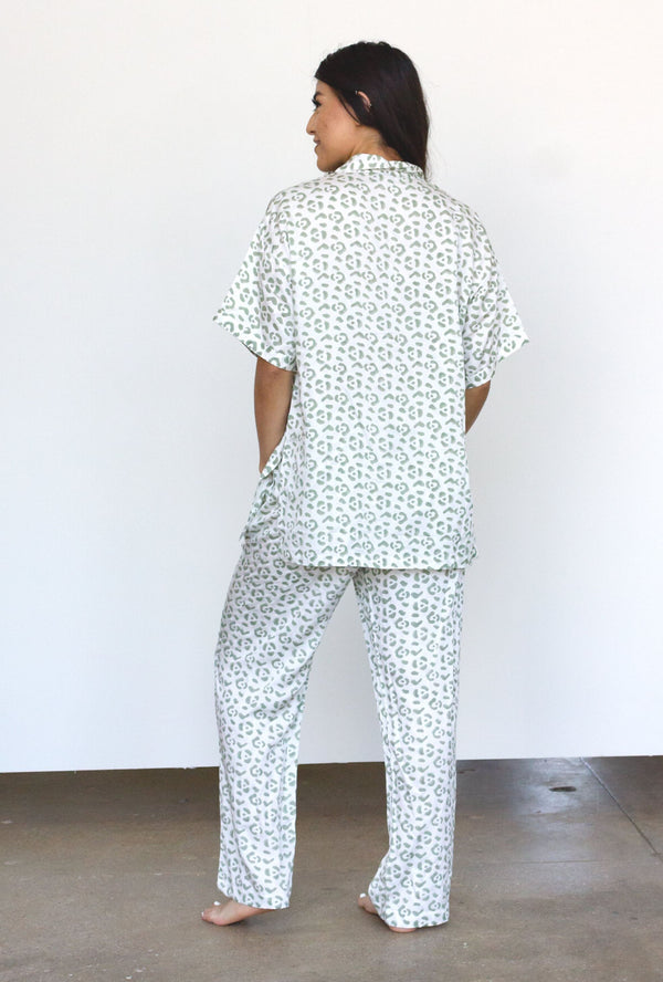 Symbology Leopard PJ Set in Cream + Sage PJs Symbology