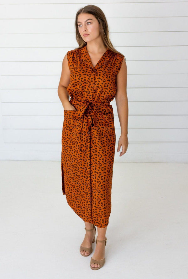 Symbology Leopard Shirtdress in Sierra + Black Dresses Symbology