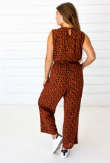 Symbology Leopard Sleeveless Jumpsuit - Sierra and Black Jumpsuits Symbology-14950062850111