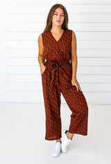 Symbology Leopard Sleeveless Jumpsuit - Sierra and Black Jumpsuits Symbology-14950053445695