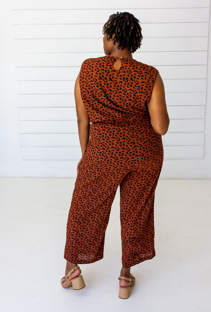 Symbology Leopard Sleeveless Jumpsuit - Sierra and Black Jumpsuits Symbology