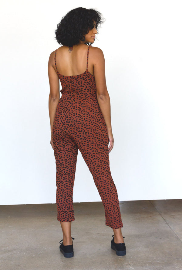 Symbology Leopard Strappy Jumpsuit in Sierra + Black Jumpsuits Symbology