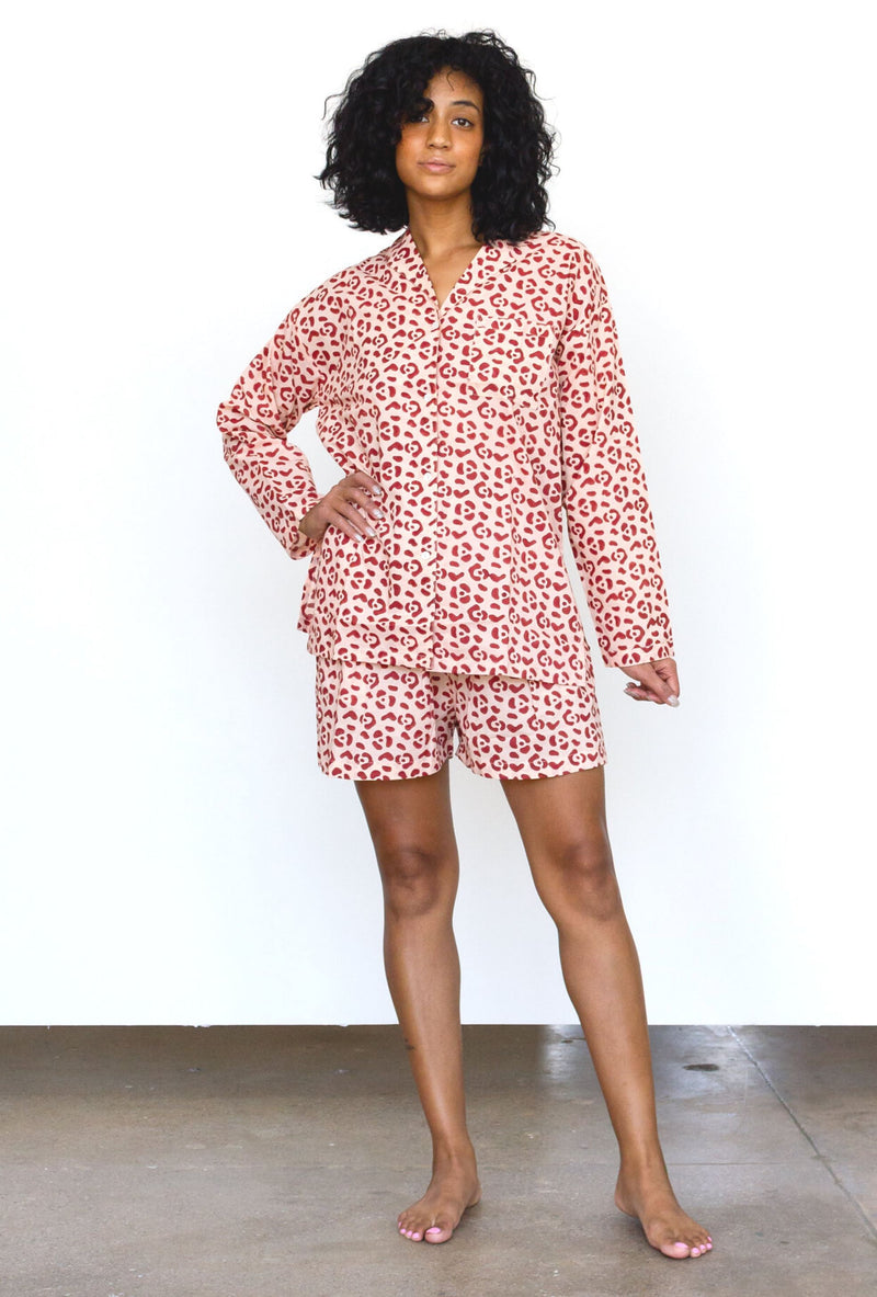 Symbology Organic Cotton Leopard PJ Set in Blush + Berry PJs Symbology