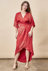 Symbology Peacock Feather Kimono Wrap Dress Lipstick Red + Gold Dresses Symbology-11803192557631