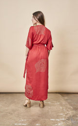 Symbology Peacock Feather Kimono Wrap Dress Lipstick Red + Gold Dresses Symbology-11803624603711