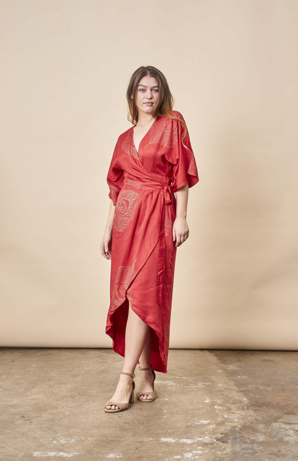 Symbology Peacock Feather Kimono Wrap Dress Lipstick Red + Gold Dresses Symbology