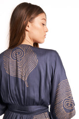 Symbology Peacock Feather Wrap Dress in Navy + Gold Dresses Symbology-5055120244799
