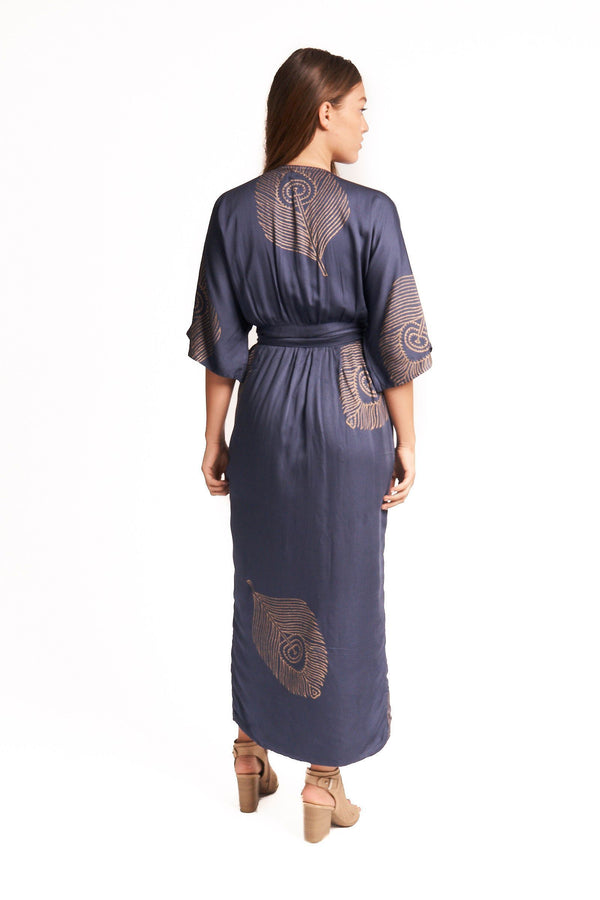 Symbology Peacock Feather Wrap Dress in Navy + Gold Dresses Symbology