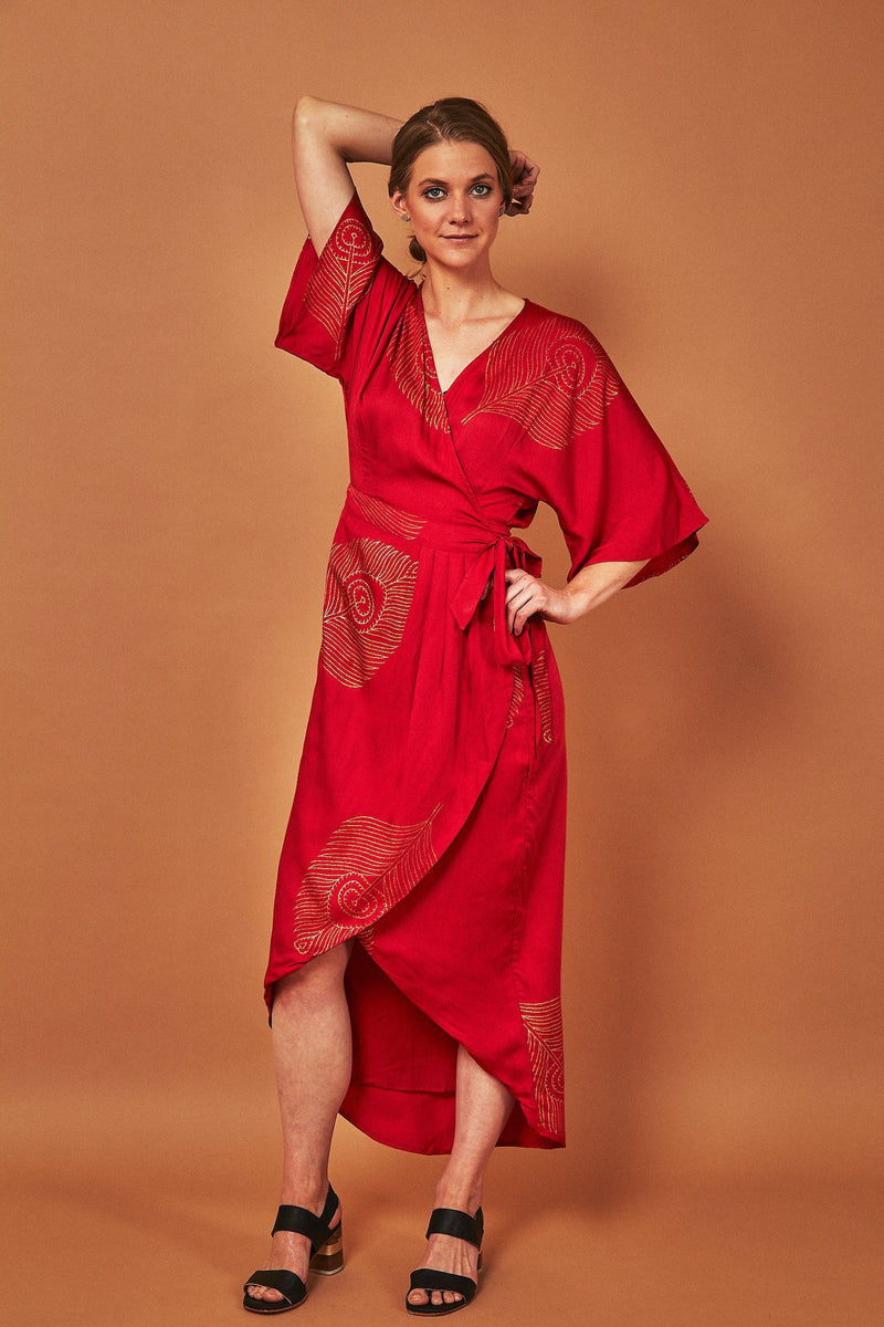 Symbology Peacock Feather Wrap Dress Lipstick Red + Gold Dresses Symbology